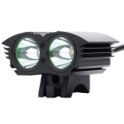 UltraFire XM-L T6 2-LED 2000lm 4-Mode White Bicycle Light Headlamp Headlight - Black (4 x 18650)