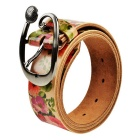 38mm Retro Style Rose Pattern Split Leather Belt for Lady / Women - Light Coffee + Red + Green