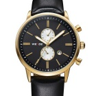 WEIDE WH3302 Men's Sports Leather Band Stainless Steel Case Quartz Watch - Gold + Black + White