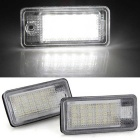 1.4W LED Car License Plate Lamp 18-SMD for AUDI A3 - Black (2PCS)