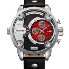 WEIDE WH3301 Men's Sports Leather Band Waterproof Oversize Quartz Analog Wristwatch - Black + Red