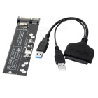 CY U3-067/SA-161 USB 3.0 to SATA 22Pin Cable + SATA to SSD Adapter Card - Black