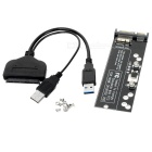 CY U3-067/SA-161 SATA 22Pin Cable + SATA to SSD Adapter Card - Black