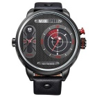 WEIDE WH-3409 Men's Split Leather Strap Two Time Zones Display Quartz Sports Watch - Black + Red