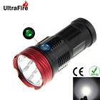 Ultrafire 6-LED 550lm 3-Mode White Light Taschenlampe - Schwarz + Rot (4 x 18650)