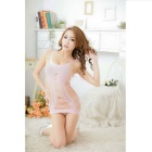 Women's Fashionable One-Piece Sexy Vest Teddy Lingerie - Light Pink
