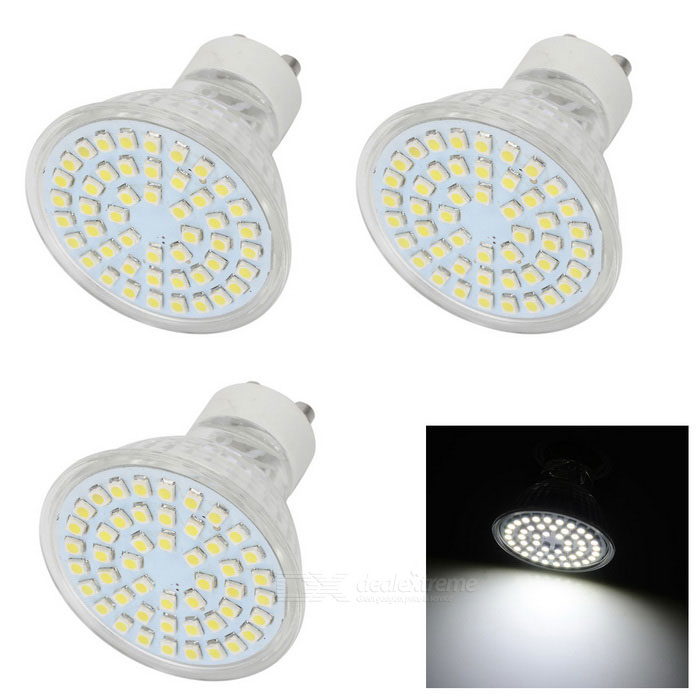 GU10 4W LED Lamps Cold White Light 48-SMD - White + Beige (3PCS)