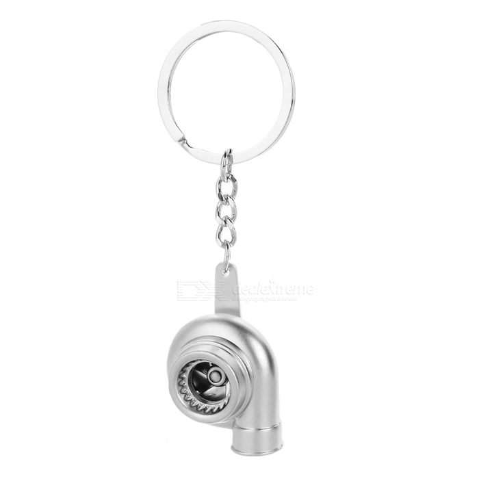 DIY Automotive Parts Zinc Alloy Turbo + Key Chain - Antique Silver