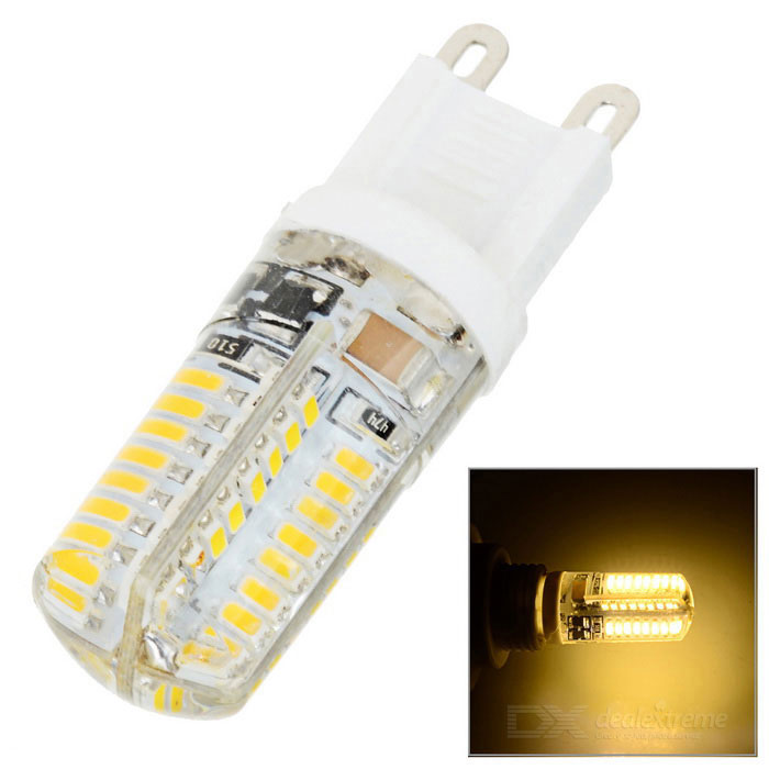 G9 3W LED Corn Lamp Warm White Light 3000K 230lm - White + TransparentG9<br>Form  ColorWhite + Transparent + Multi-ColoredColor BINWarm WhiteMaterialEpoxyQuantity1 DX.PCM.Model.AttributeModel.UnitPower3WRated VoltageAC 220 DX.PCM.Model.AttributeModel.UnitConnector TypeG9Chip Type3014 SMD LEDEmitter TypeLEDTotal Emitters64Theoretical Lumens230 DX.PCM.Model.AttributeModel.UnitActual Lumens230 DX.PCM.Model.AttributeModel.UnitColor Temperature3000KDimmableNoBeam Angle360 DX.PCM.Model.AttributeModel.UnitPacking List1 x LED lamp<br>