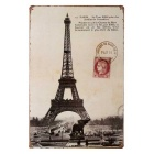 Eiffel Tower Metal Art Retro Poster Tin Plate Sticker Bar / Pub / Home Wall Decor - Black + Grey
