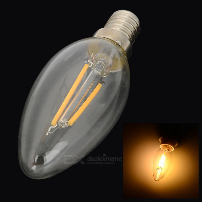 E14 1.6W COB LED bulbe blanc chaud 150lm - transparent + jaune (220V)