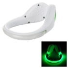Outdoor Sports Green LED Light Safety Shoes Clip for Cycling / Running - White + Green