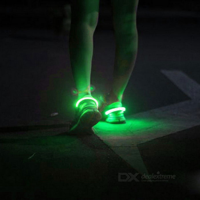 Outdoor Sports Green LED Light Safety Shoes Clip