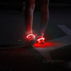 Outdoor Sports Red LED Light Safety Shoes Clip - White + Red