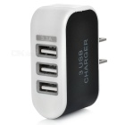 3-USB US Plugss Fast Charger + Micro USB Charging Cable - Black + White