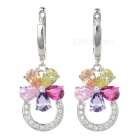 Women's Fashionable European Style Silver Plated Zircon Earrings - Silver + Multi-Color (Pair)