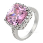 Women's Fashionable European Style Silver Plated Zircon Ring - Pink (US Size: 7)