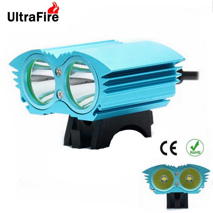 Ultrafire XM-L T6 2-LED 2000lm 4-Mode White Bike Light Headlamp - Blue