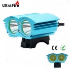 UltraFire XM-L T6 2-LED 2000lm 4-Mode White Bicycle Light Headlamp Headlight - Blue (4 x 18650)