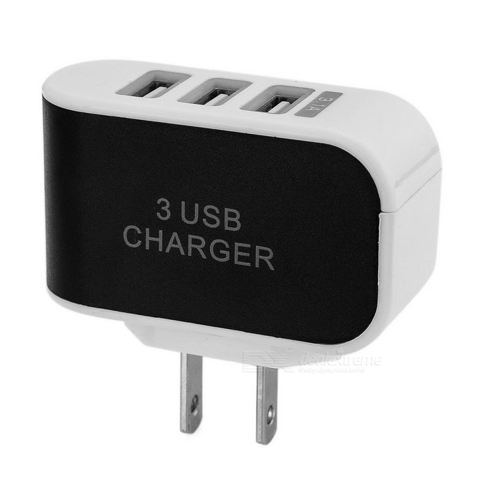 3-USB Smart Quick Charge Charger w/ LED - White + Black (US Plugs)