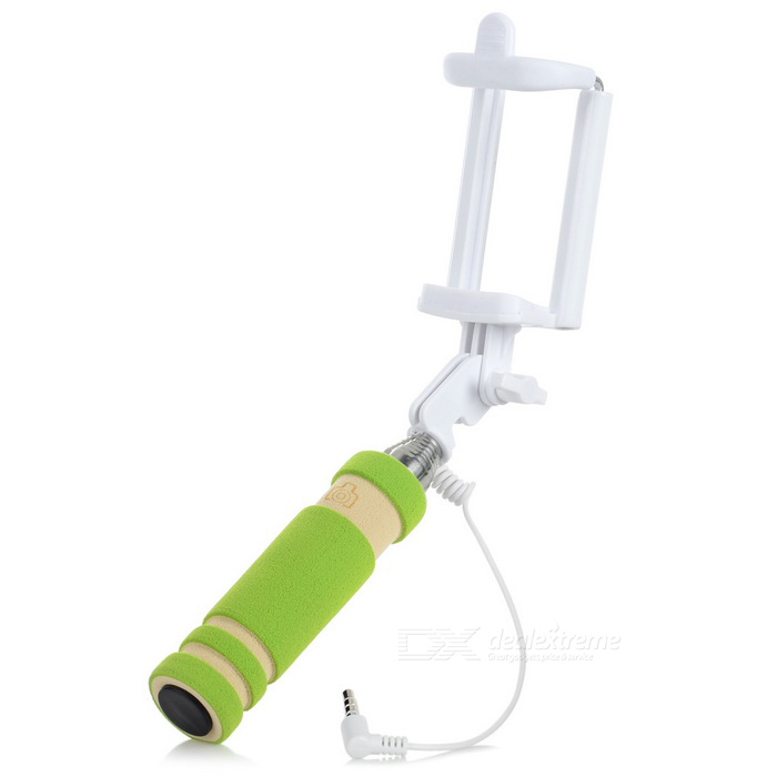 Mini Retractable Selfie Rod for IPHONE, Samsung, Huawei + More - Green