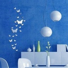 Fashionable Mirror Style Butterfly DIY Removable Decal Acrylic Art Wall Sticker Decor - Silver