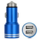 Dual USB 3.1A Car Charger w/ Hammer + Micro USB Charging Cable - Deep Blue + Silver
