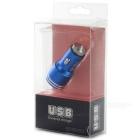 Dual USB Car Charger w/ Hammer + Micro USB Cable - Deep Blue + Silver