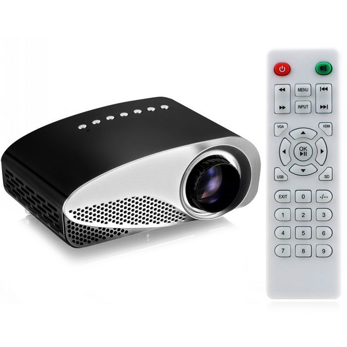 32W LCD HD Home Mini Projector w/ TV£¬ VAG£¬ USB 2.0£¬ AV£¬ SD + Remote Control - Black + White thumbnail