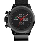 WEIDE WH3305 Unique Men's Sports Waterproof Leather Band Quartz Analog Wrist Watch - Black + Red
