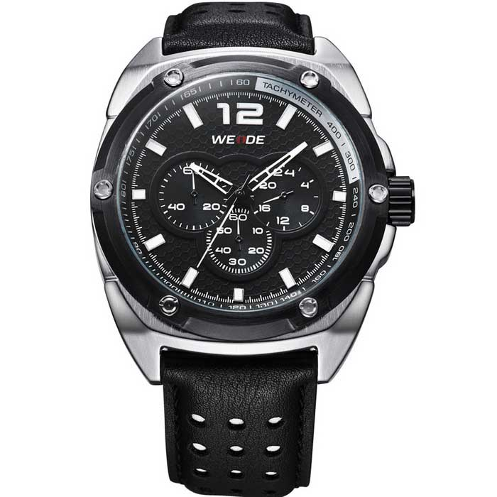 WEIDE WH3306 Men's Sports Quartz Analog Wrist Watch - Black + Silver