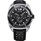 WEIDE WH3306 Men's Sports Waterproof Leather Strap Quartz Analog Wrist Watch - Black + Silver
