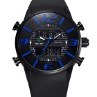 WEIDE Men's Luxury PU Strap Analog + Digital Military Sports Watch - Black + Blue (1 x SR626SW)