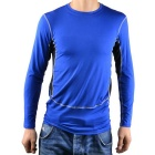 Men's PRO Sport Tight Quick-Dry Anti-Sweat Long-sleeved Cycling Jersey Top - Black + Blue (L)