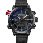 WEIDE Men's Luxury Leather Strap Quartz Analog + Digital Military Sports Watch - Black (1 x SR626SW)