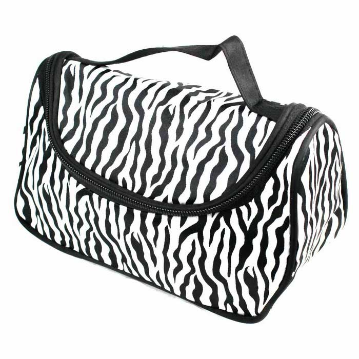 Fashionable Canvas Zebra Fringe Cosmetic Bag - White + Black