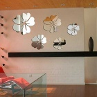 New Fashion Flower Mirror Art DIY Home Decor Wall Sticker Decal - Silver