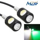 MZ 16mm 6W 2-COB 250lm LED Eagle Eyes Car Daytime Running / Fog Lamp White + Green Light 12V (Pair)