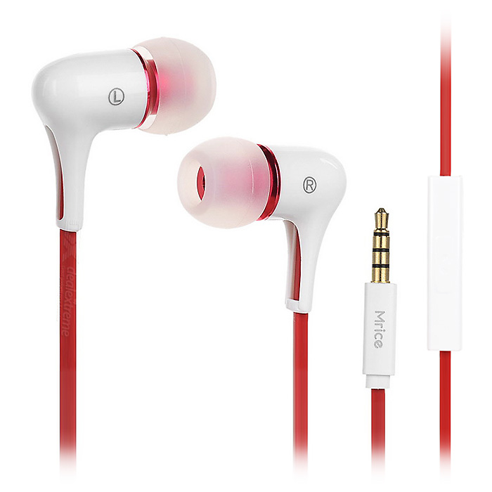 Mrice E300A In-ear Earphones w/ Mic for Tablet PC, Phone - White + Red