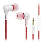 Mrice E300A Mega Bass In-ear Earphones Headphones w/ Mic. for Tablet PC / Cell Phone - White + Red