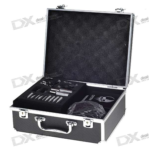 Professional 4-Gun Tattoo Machine Complete Kit Set with Carrying Case