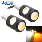 MZ 16mm 2-6W COB LED Eagle-Augen-Auto-Tages Running / Nebel-Lampen-Weiß + Orange Licht 250lm (12V Pair)