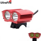 UltraFire XM-L T6 2-LED 2000lm 4-Mode White Bicycle Light Headlamp Headlight - Red (4 x 18650)
