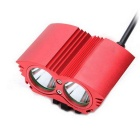 Ultrafire XM-L T6 2-LED 2000lm 4-Mode White Bike Light Headlamp - Red
