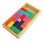 Wooden Puzzle Tetris Stereo Assembling Pan Domino Toy - Multicolor