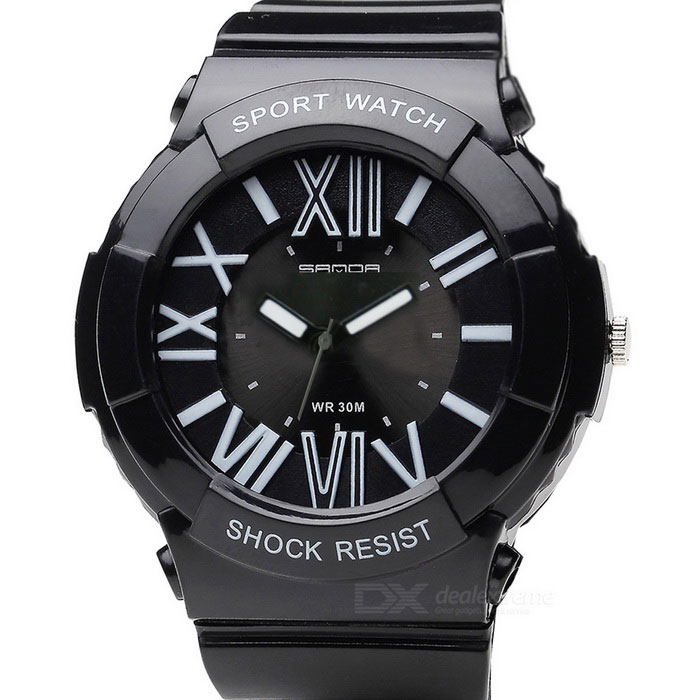 SANDA Students' Quartz Analog Watch - Black + White (1*SR626)