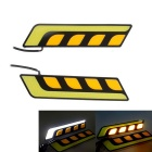 Dimmable 7.5W High Power 4-COB LED Car Daytime Running Light White + Yellow Light (2 PCS / 12V)