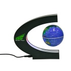 C Shaped LED Magnetic Levitation English Globe 360 Degree Display Decoration Toy - Blue (US Plug)