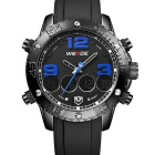 WEIDE Men's Luxury PU Leather Strap Quartz Analog + Digital Military Sports Watch - Blue + Black