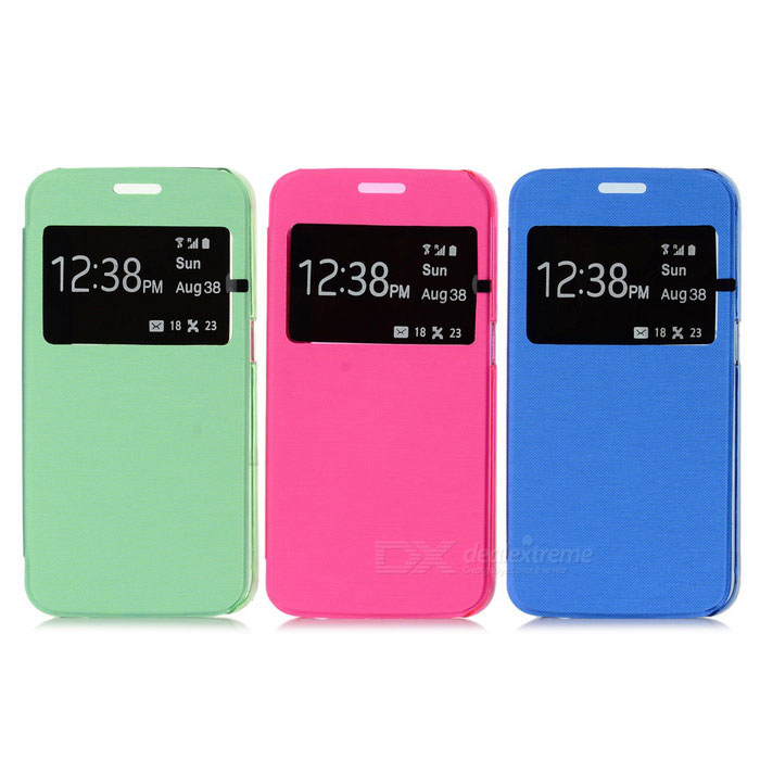 PU+PC Case w/ View Window for Samsung S6 - Green + Multicolor (3PCS)